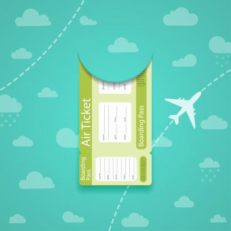 Vector green air ticket on sky background. Vector