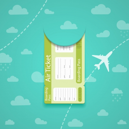 Vector green air ticket on sky background. Vector
