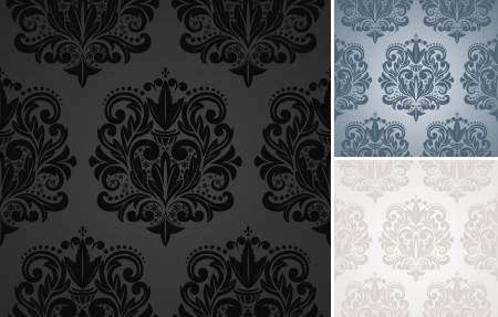 Set of vector seamless damask pattern background. Vector