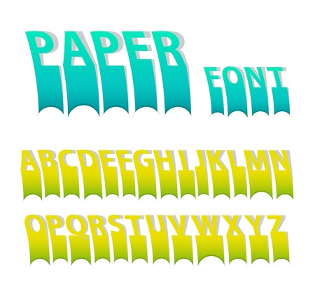 attach: Paper colorful attach creative font. Vector illustration.