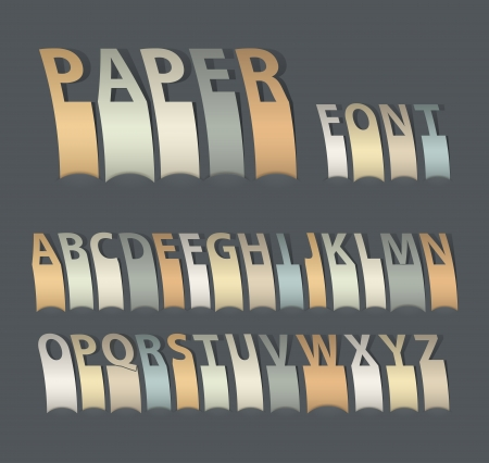 attach: Vintage attach creative paper font. Vector illustration.