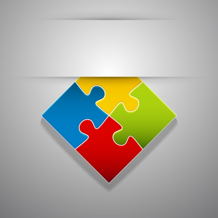 Attach colorful creative puzzle sticker. Vector illustration. Vector