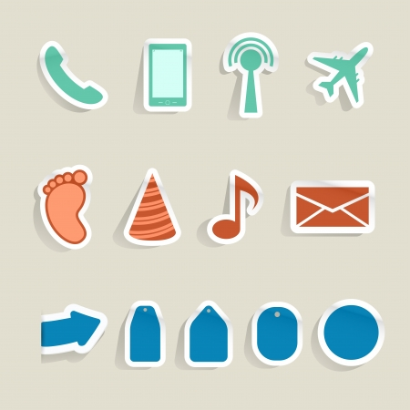 Internet web colorful paper icons. Vector illustration. Vector