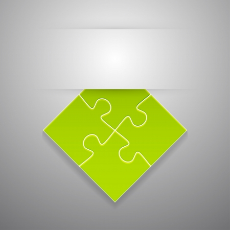 attach: Attach puzzle-sticker. Vector illustration.