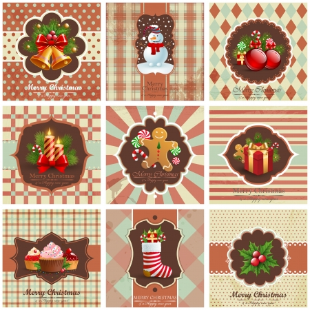 Set of christmas vintage backgrounds Stock Vector - 15789238