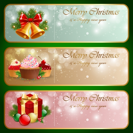 Christmas vintage horizontal banner Stock Vector - 15789230
