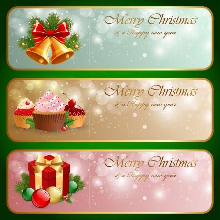 Christmas vintage horizontal banner
