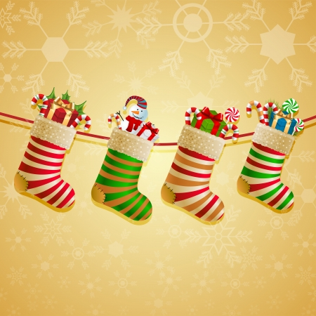 Hanging christmas socks with present Vector