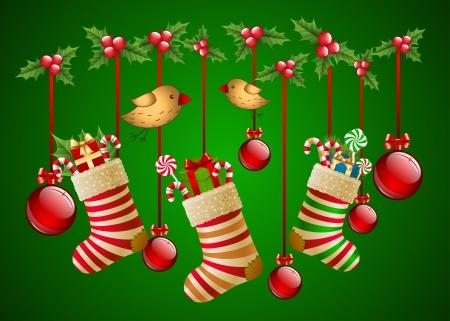 Hanging christmas socks with present and balls Vector