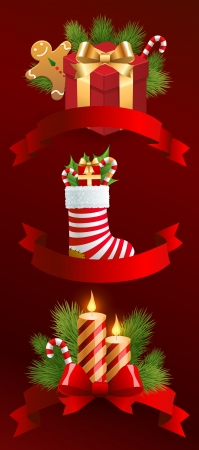 Christmas objects with ribbons Vector