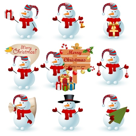 Collection of snowman Иллюстрация