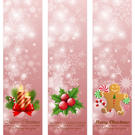 Christmas vintage vertical banners Illustration