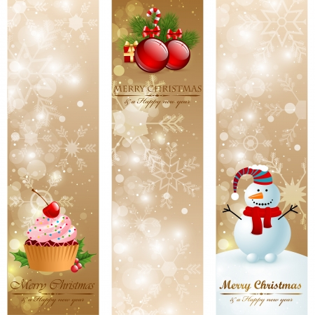 Christmas vintage vertical banners Illustration