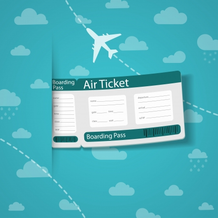 Air ticket on sky background  Vector illustration  Vector