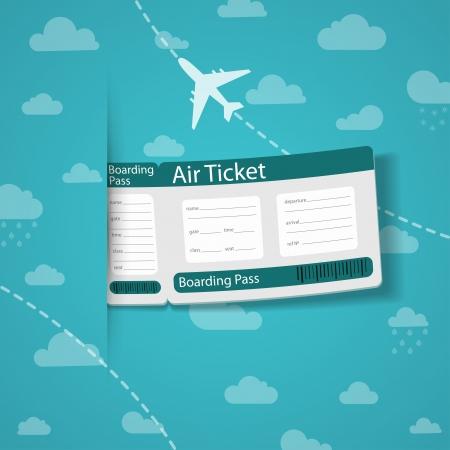 Boleto aéreo en el cielo de fondo ilustración vectorial