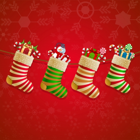 Hanging christmas socks with present. Vector illustration. Vector