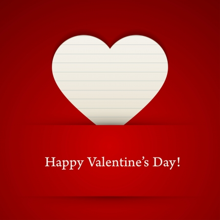 Valentines day card with paper heart. Vector illustration. Stock Vector - 17793074
