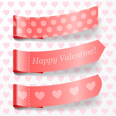 attach: Attach valentine ribbons. Vector illustration.
