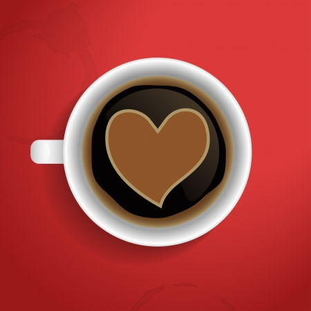Valentines heart in coffee cup. Vector illustration. Vector