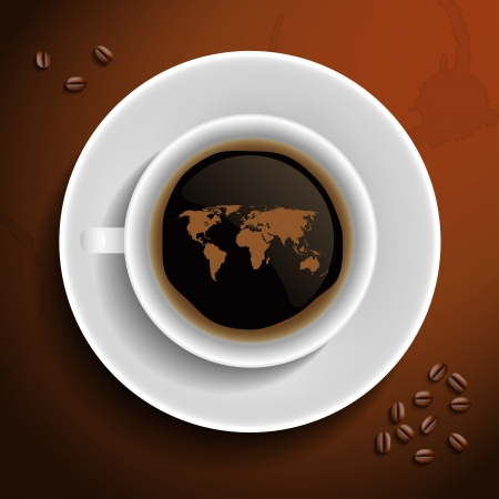 World map in coffee cup. Vector illustration. Иллюстрация