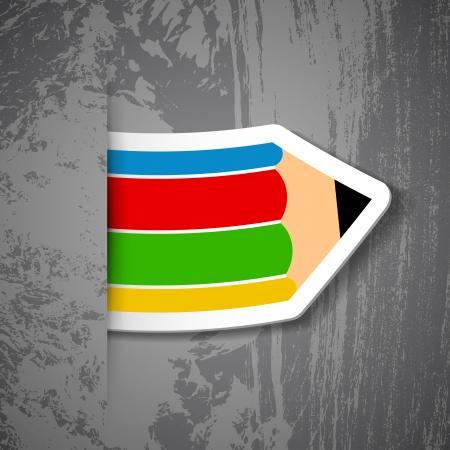 Creative pencil sticker on grey background. Vector illustration.