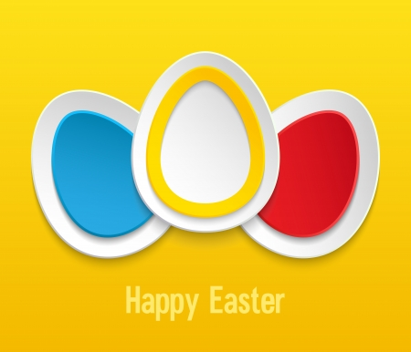 Easter eggs on yellow background. Vector illustration. Stock Vector - 18087216