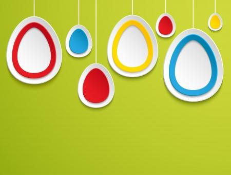 Hanging easter eggs. Vector illustration. Stock Vector - 18087214
