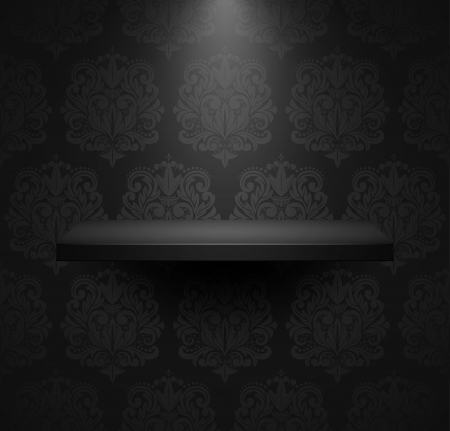 Dark empty isolated shelf on beautiful black luxury background. Vector illustration.