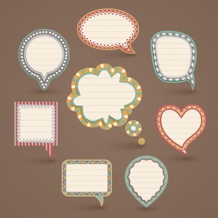 Vintage paper bubbles for speech  Vector illustration