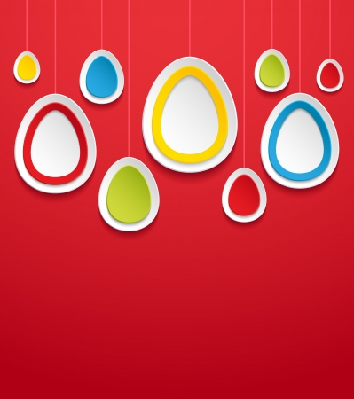 Hanging easter eggs  Vector illustration  Stock Vector - 18561123