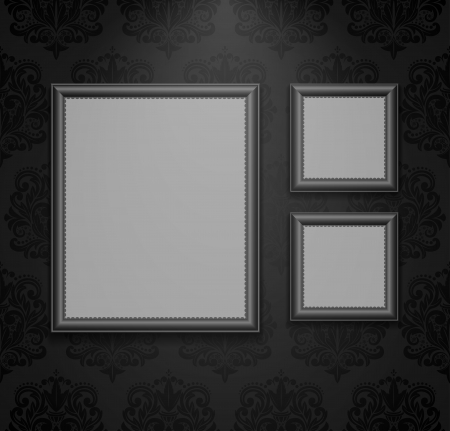 Empty frames on the wall illustration. Vector