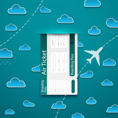 plane ticket: Air ticket on sky background. Vector illustration.