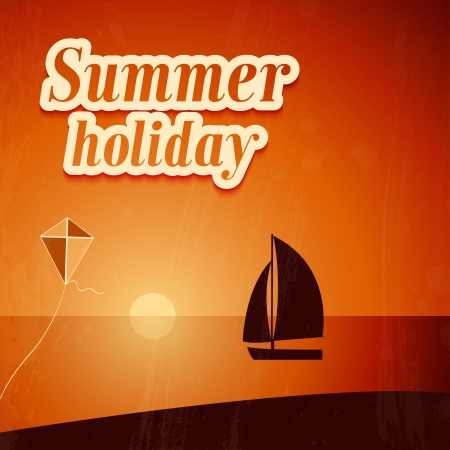 Summer background with yacht. Vector illustration. Vector