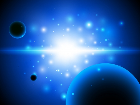 galactic center: Space background with stars and planet. Vector illustration.