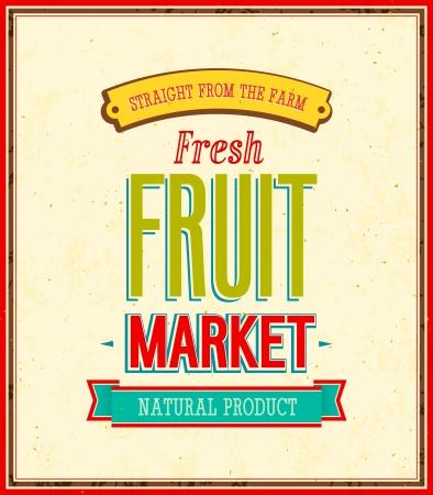 abstract art vegetables: Fruit market design illustration  Illustration