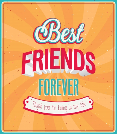 Best friends forever typographic design. Vector illustration. Иллюстрация