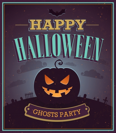 Happy Halloween typographic design. illustration.