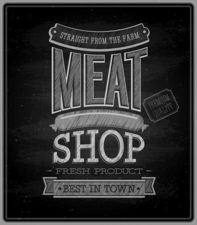 Meat shop - Chalkboard. Vector illustration.