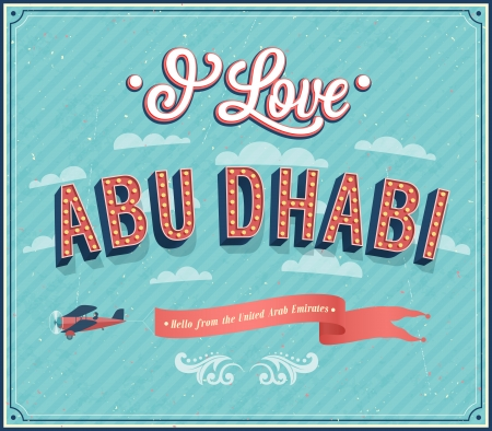 Vintage greeting card from Abu Dhabi - United Arab Emirates. Vector illustration.