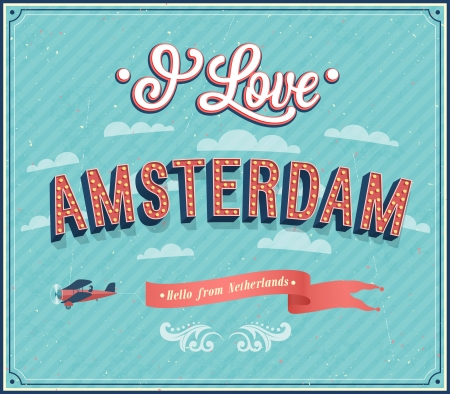 Vintage greeting card from Amsterdam - Netherlands. Vector illustration. Illustration