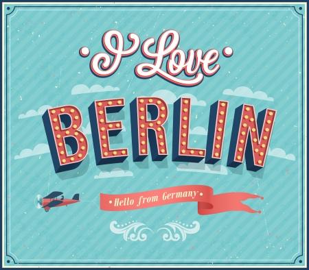 berlin: Vintage greeting card from Berlin - Germany. Vector illustration.