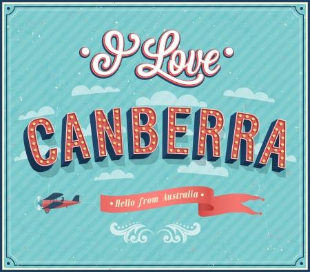 canberra: Vintage greeting card from Canberra - Australia. Vector illustration. Illustration