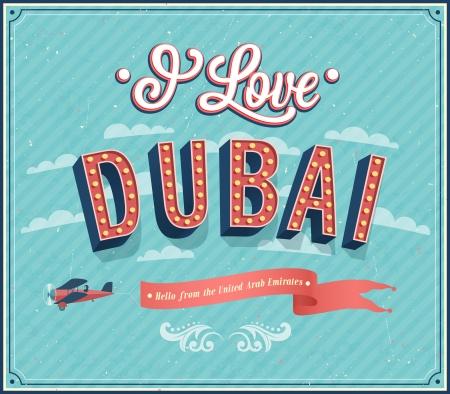 Vintage greeting card from Dubai - United Arab Emirates. Vector illustration. Illustration