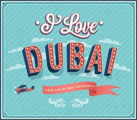 Vintage greeting card from Dubai - United Arab Emirates. Vector illustration. Иллюстрация