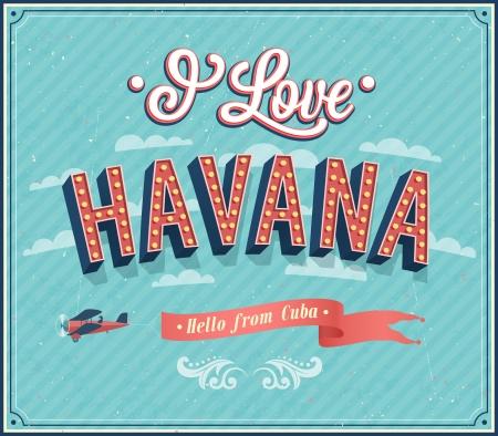 Tarjeta de felicitación de la vendimia de La Habana - Cuba. Ilustración del vector.