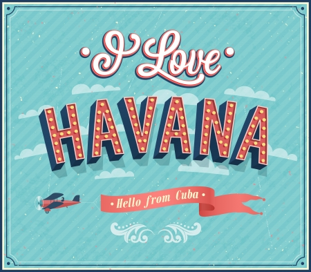 Vintage greeting card from Havana - Cuba. Vector illustration.