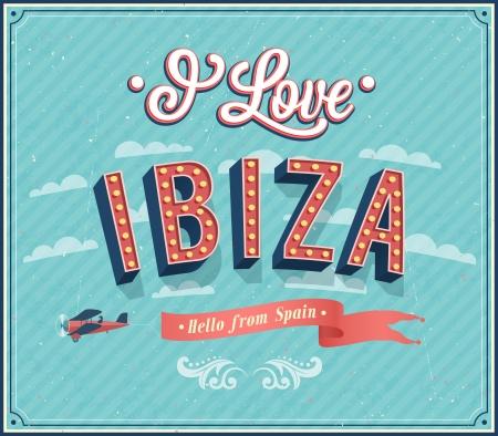 ibiza: Vintage greeting card from Ibiza - Spain. Vector illustration.