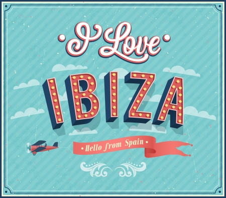 Vintage greeting card from Ibiza - Spain. Vector illustration.