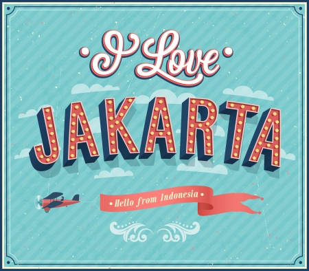 Vintage greeting card from Jakarta - Indonesia. Vector illustration.