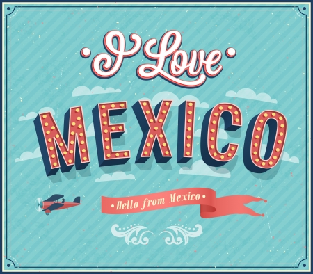 mexico city: Vintage greeting card from Mexico - Mexico. Vector illustration.